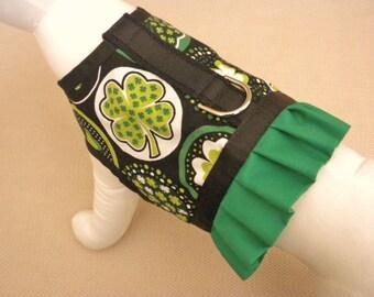 St. Patrick's Day Shamrock Ruffle Dog Harness Vest