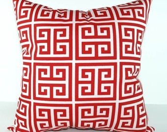 Premier Prints Towers Rojo Outdoor Decorative Pillow - Red and White Greek Key Pillow - Free Shipping