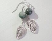 Rustic Sterling Silver Dangle Leaf Earrings with Sky Blue Kyanite