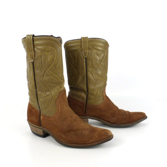 brown cowboy boots vintage 1960s out suede and leather