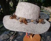 Special Listing -- Rose Gray Hand Felted Explorer Fedora  Hat