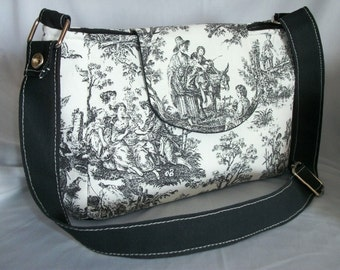 Purse Shoulder Bag Flap Medium-Sized Bag Black and White Toile Country Scene Adjustable Strap Pockets