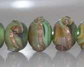 Olive Shimmery Swirlies Lampwork Glass Bead Set