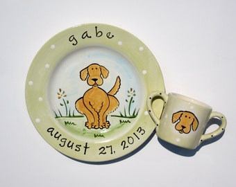 personalized hand painted commemorative golden retriever cup and birth plate set