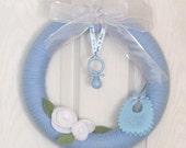 Wreath Baby Boy Announcement or Baby Shower Baby Boy Blue Decoration