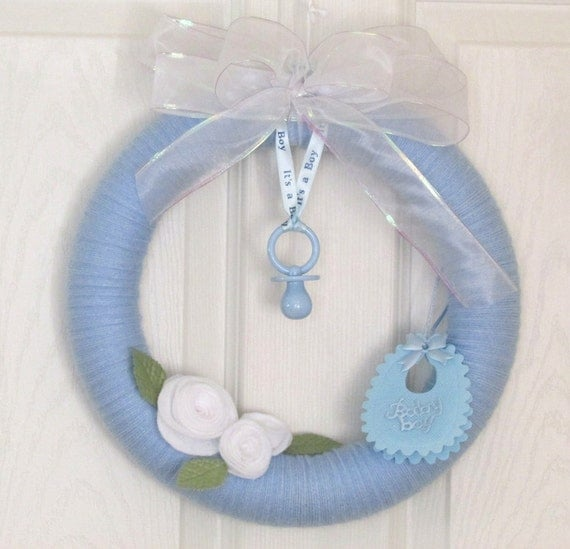 Wreath baby boy announcement or baby shower baby boy by for Welcome home new baby decorations