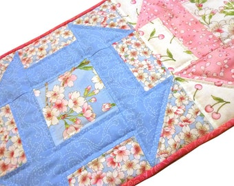 Quilted Table Runner Spring Cherry Blossoms, Churn Dash