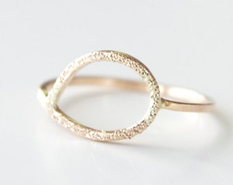 Pave Finish Teardrop Ring in 14k Yellow Gold - Gold Teardrop Ring - Pave Finish Ring - Feminine Gold Ring - Recycled Modern Ring - Dainty