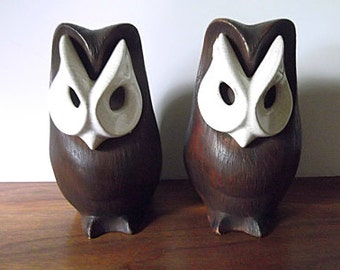 Midcentury Modernist Brayton Laguna Beach California Art Pottery Owls, Brown, White