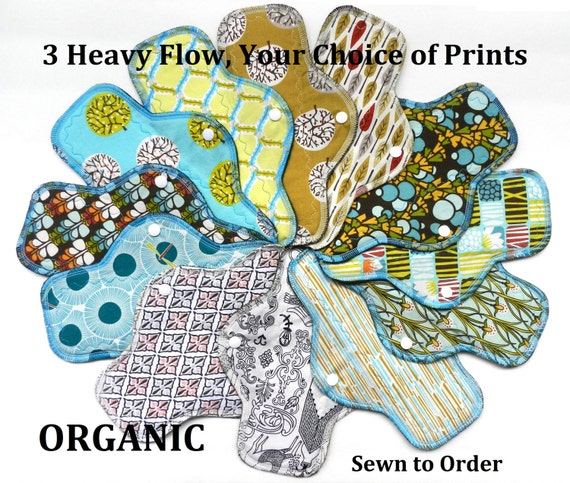 Set of 3 ORGANIC Cotton Heavy Flow Pads-You Choose Your Print!