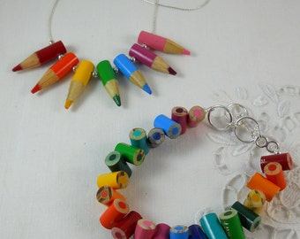 Necklace and Bracelet Jewelry Set - Colored Pencil - Beaded Necklace - Teacher - Teacher Gift - Pencil - Multi Color Rainbow