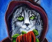 Cat Art, Goth Grey Cat in Cloak Holding Amaranthus Flowers 8x10 Fine Art Print