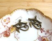 Egyptian Eye of Horus Protection Charm Earrings Bronze Tone