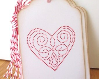 Red Stitched Heart Gift Tags