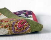 Linen pocket square. Floral, paisley handkerchief. Made in Italy. Hand rolled edge. Men accessories. Red, sage green.