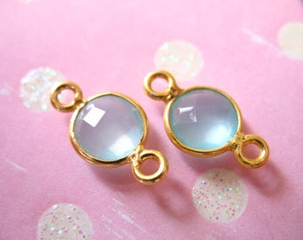 Shop Sale. 2 5 10 pcs, Gemstone Connectors Links - Bezel Gems CHALCEDONY, 24k Gold Vermeil, 15x9 mm, Aqua Blue, bridal weddings gcl10