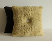 "13"" Repurposed Felted Wool Sweater Knit Pillow - Soft Gold"