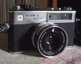 1970's Yashica MG-1 35mm Film Rangefinder Camera with Strap & Field Case