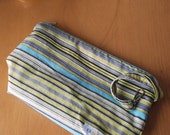 all-purpose small wetbag - wipes bag - cosmetic bag - wristlet pouch in green stripe