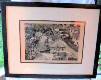 Art Work - Framed Etching, 17 X 21 print of Turkish Village, signed by artist