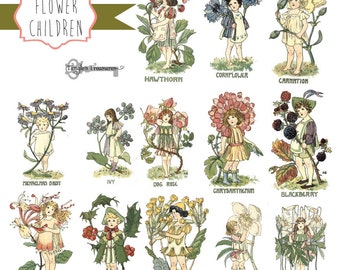 Vintage Flower Fairies Digital Clipart Set