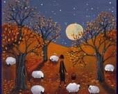 Autumn Bliss Sheep Apple orchard full Moon PRINT by Deborah Gregg