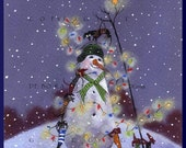 Christmas Lights....On Everything! a small Dachshund Christmas Snowman PRINT from the original by Deborah Gregg