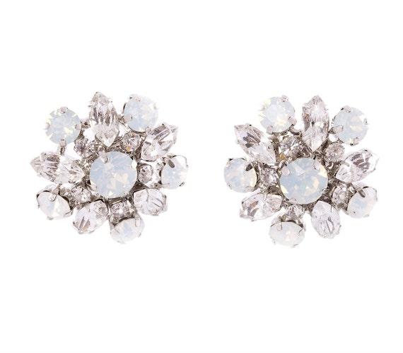 Bridal Stud Earrings Crystal Wedding Earrings Vintage Bridal Earrings Wedding Jewelry Opal Crystal Earrings