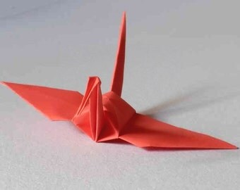 100 Small Origami Cranes Origami Paper Cranes Paper Cranes - Made of 7.5cm 3 inches Japanese Paper - Dark Coral Pink