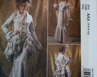McCall's M6770 Misses' Costume Jacket, Bustle/Capelet, Skirt, and Pants Sewing Pattern New/ Uncut Size 4-6-8-10