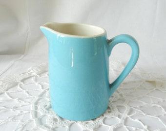vintage aqua creamer, jug, pitcher, ceramic aqua/white, pottery, 4 inches