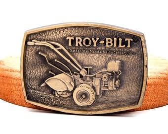 Vintage Troy Bilt Belt Buckle Brass Garden Way Rototiller 1970's