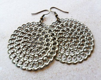 Rustic White Painted Filigree Earrings