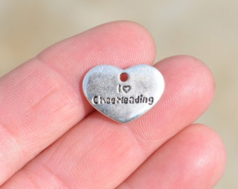 5  Silver I LOVE CHEERLEADING Charms SC2543