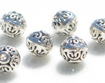 20  Silver 6mm Rondelle Decorative Beads BD142