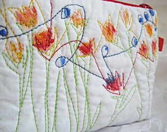 Cosmetic bag, white with flowers bag, multicolor small zipper pouch, small coin purse
