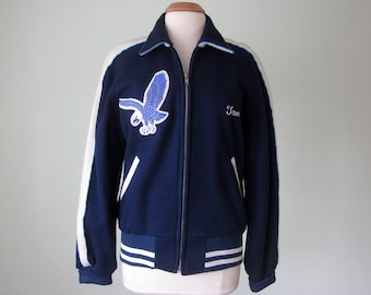 letterman jacket / navy wool 90s sport eagle coat (m - l)