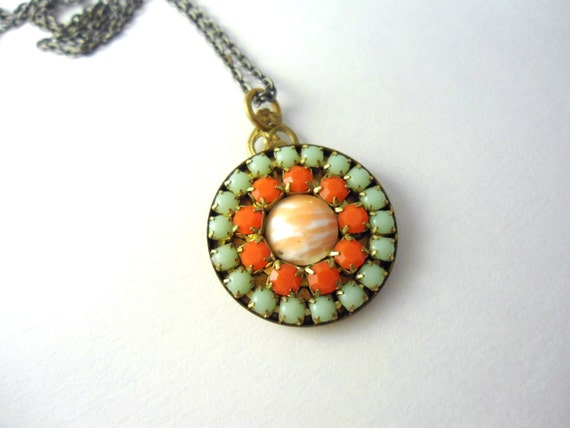 Coral Green Necklace, Circle, Medallion, Summer Brights, Orange,Mint