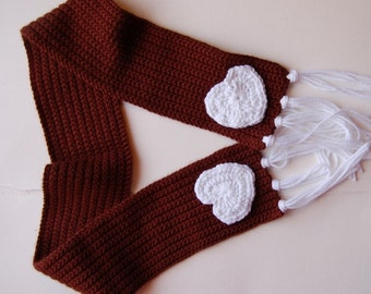 Happy Heart Scarf for Girls in Chocolate Brown and White, Ready to Ship