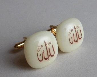 Allah Cufflinks - Fused glass