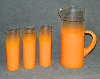 Mid Century Modern Blendo West Virginia Glass Orange Frosted Pitcher with 6 Highball Glasses Midcentury Bar Mad Men CrabbyCats Crabby Cats
