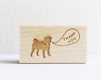 Rubber Stamp - Pug Thank You