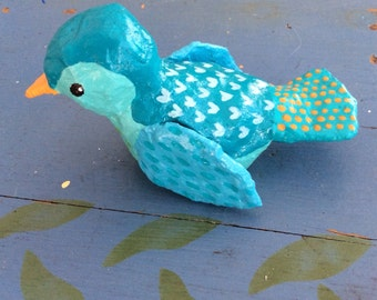 Little blue papier mâché bird sculpture