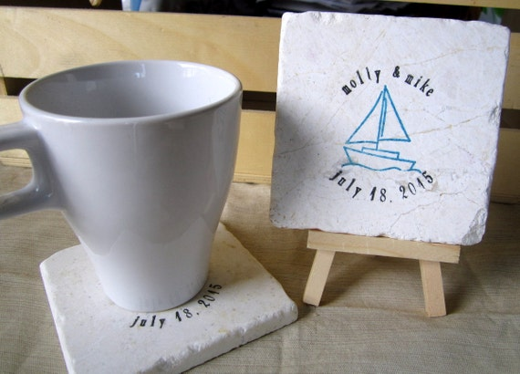 Personalized Sailboat Wedding Favor Coasters, Set of 25