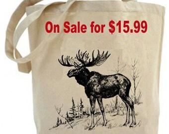 Moose  - Eco Friendly Canvas Tote Bag