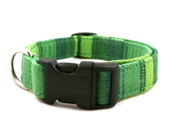 Green striped adjustable dog collar