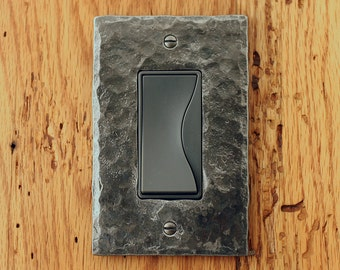 GFI Cover Plate - Hammer Textured Iron Single Rocker/Decora Switchplate