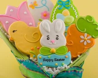 "Easter Cookies, Bunny cookies, Basket Chick, Egg, Tulip, Carrot - (12 cookies, 4"" standard size)"