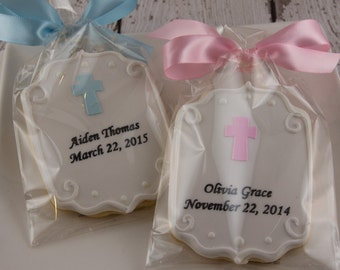 Personalized Plaque Cookies with Cross for Baptism, Communion - 24 Decorated Sugar Cookie Favors