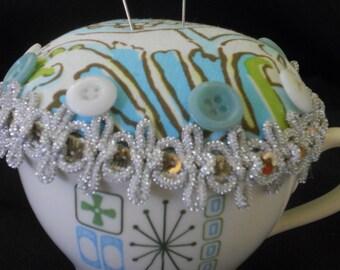 Teacup pincushion, 1960's themed teacup